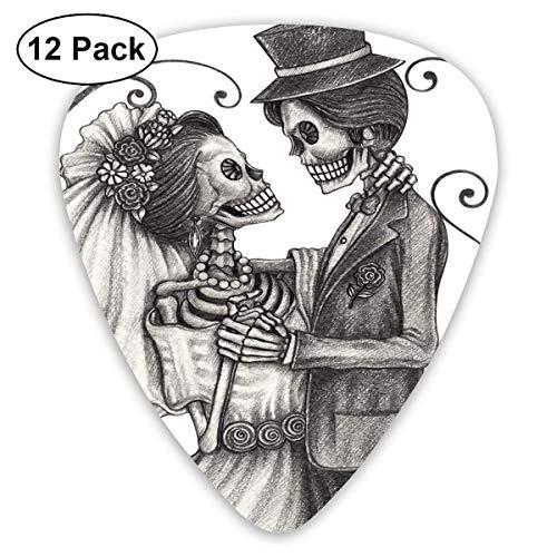 Tag der toten Liebe Valentins Schädel Skelett Ehe Ewige spanische festliche Kunst Dimgrey und Weiß (12er Pack)