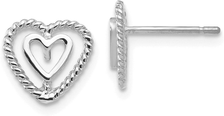 Beautiful White gold 14K 14k White gold Heart Earrings