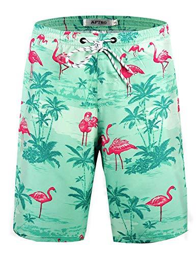 APTRO Men's Swim Trunks Flamingo Beach Board Shorts Bathing Suits HWP020 XL
