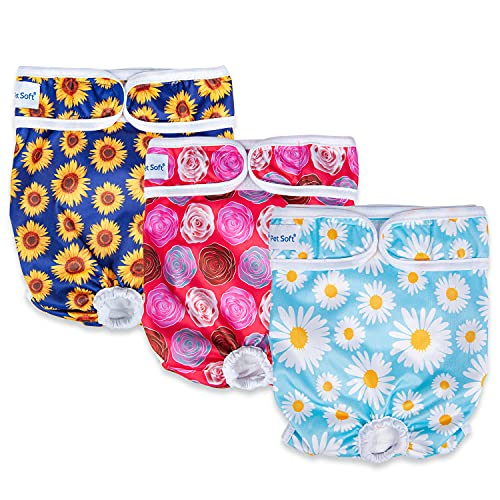 Pet Soft Washable Female Diapers (3 Pack) – 2021 Summer Latest Flower Female Dog Diapers, Comfort Reusable Doggy Diapers for Girl Dog in Period Heat (Flower, M)