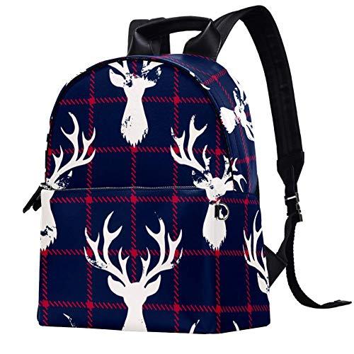 Leder-Rucksack mit weißem Hirschkopf, blau und rot, kariert, für Schule, College, Reisen, Büro, Laptop, Rucksack für Damen und Herren