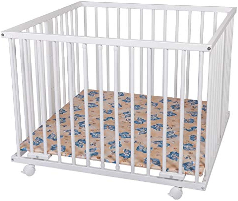 WALDIN Baby Laufgitter Laufstall ca. 100x100 BUCHE MASSIV, hhen-verstellbar, 2 Modelle whlbar,Buche Massiv-Holz, wei lackiert