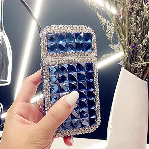 JXGXI Pitilleras Diamond para Mujer con Mechero Incorporado, Mechero USB 2 en 1, Caja de Cigarrillos, Cigarrillos Regulares, Recargables, con Capacidad para 20 Cigarrillos