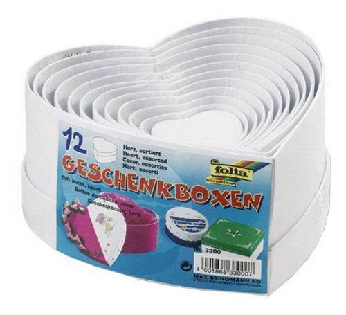 folia 3300 - Geschenkboxen, Pappschachteln aus Karton, in Herzform, weiß, 12 Stück in verschiedenen Größen - ideal zum Verzieren und Verschenken