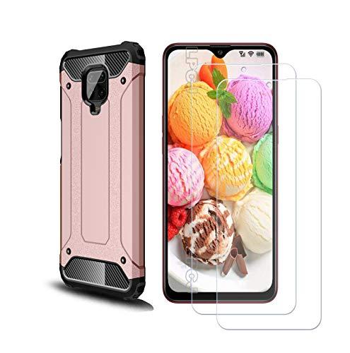 Capa VGANA e Vidro Temperado 2H de 9 Peças para Xiaomi Redmi Note 9S, Capa Anti-arranhões [Hybrid Series Armor] Anti-Queda e Protetor de Tela. Rosa