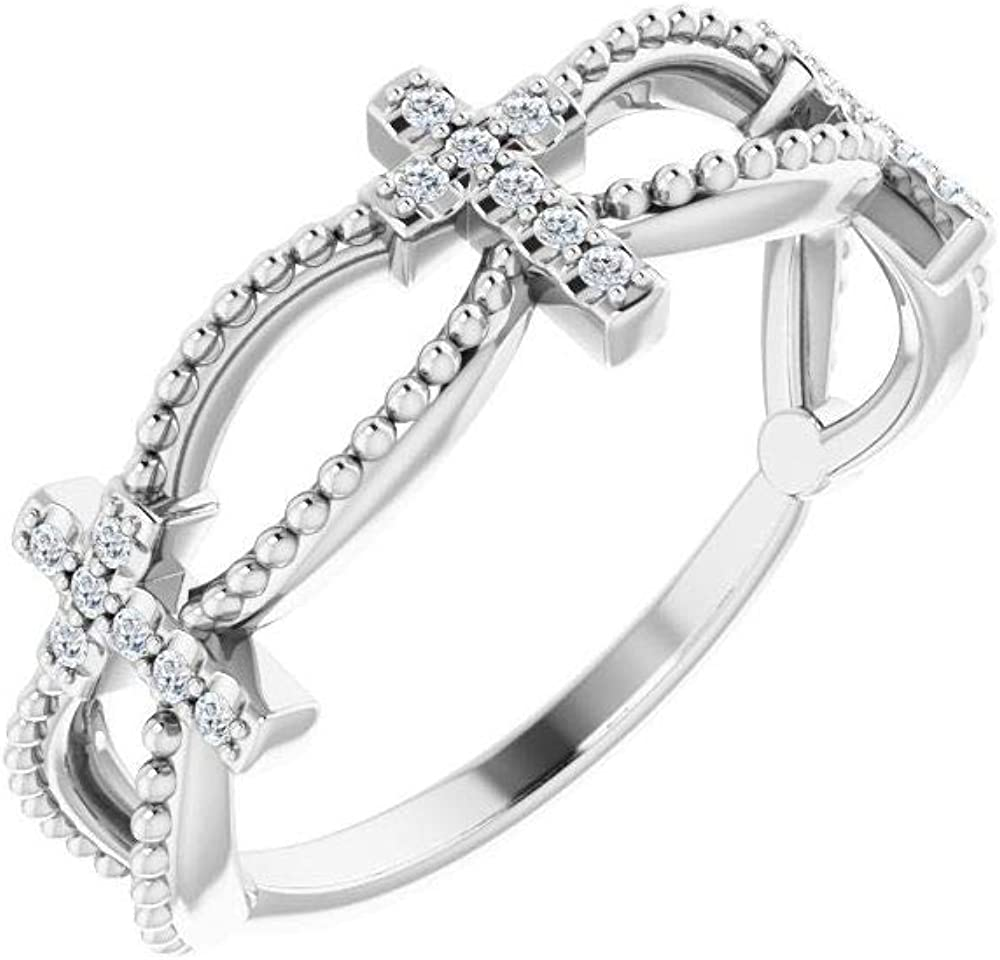 Solid 14k White Gold .08 Cttw Diamond Stackable Wedding Anniversary Cross Crucifix Ring Band (Width = 6.5mm) - Size 9