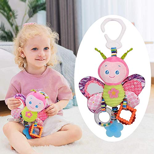 Car Seat Toys, Baby Toys 3-6 Months, Hanging Baby Toys, Stroller Toys Baby Rattles 0-13 Months for Baby Stroller Colorful Animal...