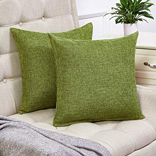 Anickal Set of 2 Green Pillow Covers Rustic Linen Decorative Square Throw Pillow Covers 18x18 Inch for Sofa Couch Decoration