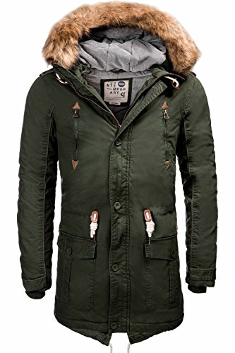 !Solid Herren Probert Parka Kapuze Winter-Mantel Outdoor Alaska Geographical Winter-Jacke Grün XL