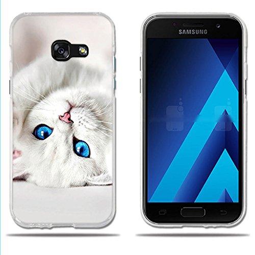 fubaoda Funda Samsung Galaxy A3 2017 4.7' Dibujo de Lindo Gatito Blanco,Amortigua los Golpes, Funda Protectora Anti-Golpes para Samsung Galaxy A3 2017