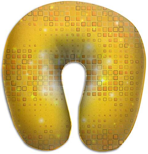 Nackenkissen aus Memory-Schaum, goldfarbenes Mosaik, glänzend, U-Form, Reisekissen, ergonomisches konturiertes Design, waschbarer Bezug für Flugzeug, Zug, Auto, Bus, Büro