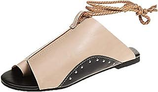 Women Flat Sandals Summer,SIN+MON Womens Hemp Rope Weaving Flip Flops Sandals Slip-on Roman Beach Shoes Causal Slippers