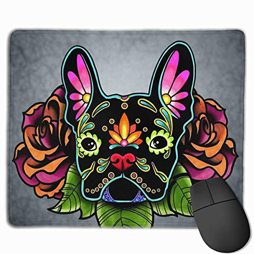 Day of The Dead French Bulldog in Black Sugar Skull Dog Non-Slop Rubber Mousepad Gaming Mouse Pad with Stitched Edge 11.8'X9.8'