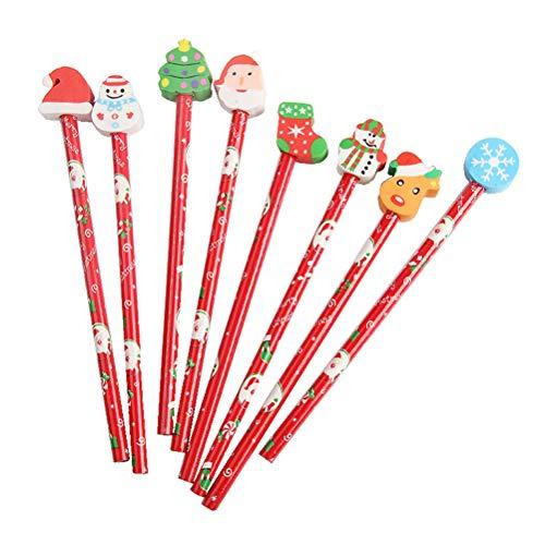 Toyvian - Matita natalizia con gomma da cancellare per bambini, studenti, 24 pezzi (stile casuale)