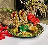 Deepawali - Figura decorativa de laxmi ganesha (aluminio, chapado en oro, con plato, para Puja Diwali, decoración india de Dhanteras Pooja y Thali)