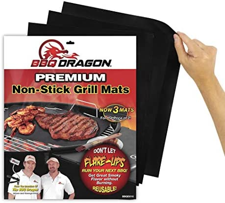 BBQ Dragon Grill Mats Set of 3 Black Heavy Duty Large Reusable Grill Pans Non Stick Charcoal product image