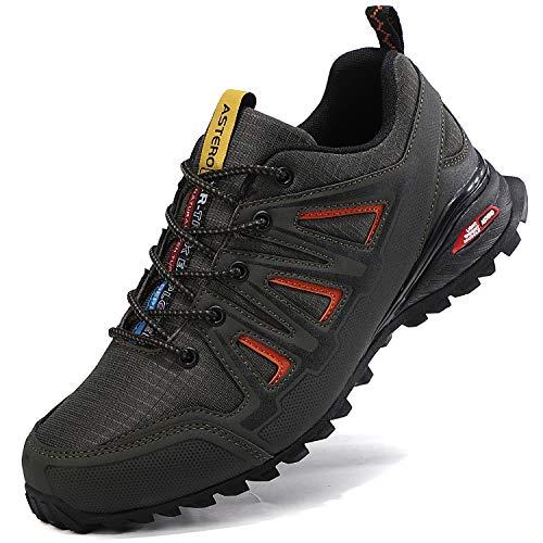 ASTERO Zapatillas de Deportes Hombre Running Zapatos para Correr Gimnasio Calzado Deportivos Ligero Sneakers Transpirables Casual Montaña Calzado Talla 41-46 (Verde, Numeric_42)