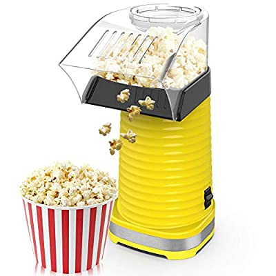 BIMONK Hot Air Popcorn Maker, Popcorns Machine, Home-Made Healthy Hot Air swirling Popcorn Popper 1200W BPA-Free, with Measuring Cup and Removable Top Cover?Red)