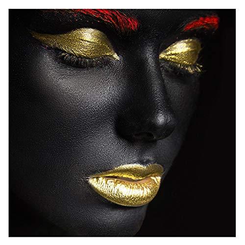 KELEQI Arte de Arte Africano Mujer Negra y Dorada con Collar Pintura en Lienzo y Carteles Cuadro de Pared Decoración de Sala de Estar (60x60cm) Sin Marco