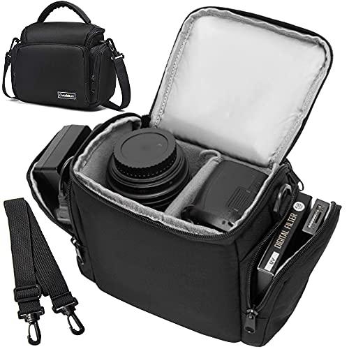 Cwatcun Single Shoulder Crossbody Compact Camera Bag Case Compatible for Canon Nikon Sony SLR DSLR Mirrorless Cameras and Lenses Waterproof Black