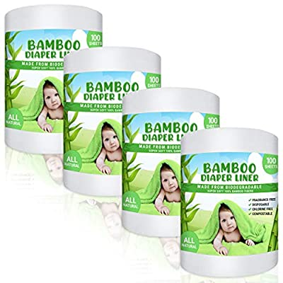 Bamboo Diaper Liners - Fragrance Free Cloth Diaper Liners - Disposable Bamboo Diaper Liners 400 Sheets for Cloth Diaper Nappy - (4 Pack) Gentle and Soft, Chlorine and Dye-Free by SC