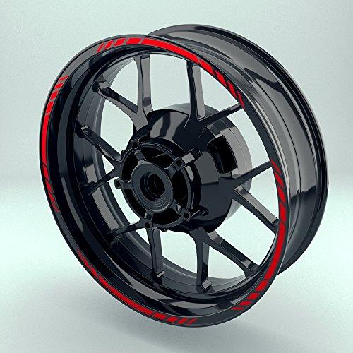 OneWheel Felgenband für Motorrad Rot | 17 Zoll | Komplett Set für Vorder- und Hinterreifen | Felgenaufkleber (Design 4)
