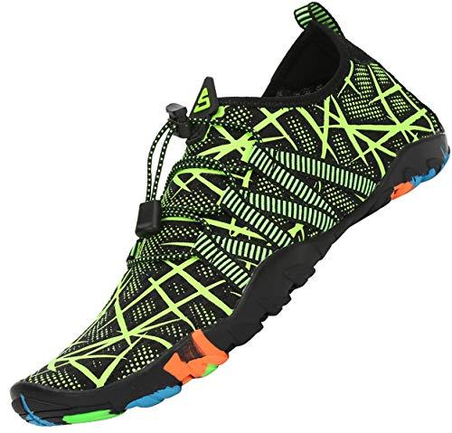 Tmaza Zapatos de Agua Mujer Secado Rápido Escarpines Piscina Respirable Antideslizante Zapatos de Descalzos Natación Verde Brillante 36 EU