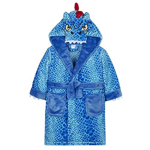 Minikidz Bademantel für Jungen, Fleece, warm, gemütlich, verschiedene Größen Gr. 2-3 Jahre, Dino