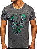 BOLF Hombre Camiseta de Manga Corta T-Shirt Escote Redondo Estampada Crew Neck Camiseta de Algodón Básico Entrenamiento Deporte Print Outdoor Estilo Diario J.Style KS2650 Grafito XXL [3C3]