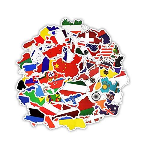 Erfula 50 UNIDS Hojas de Banderas del Mundo País Pegatinas Juguete para niños Mapa del País...