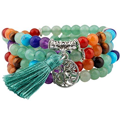 SUNYIK 7 Chakra Stone 108 Green Aventurine Wrist Mala Bracelet,Tibetan Buddhist Prayer Bead with Tassel