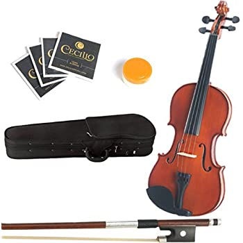 Mendini 16-Inch MA250 Varnish Solid Wood Viola with Case, Bow, Rosin, Bridge and Strings
