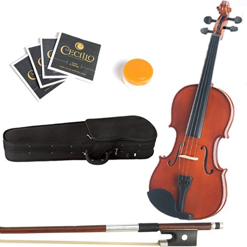 Mendini 15-Inch MA250 Natural Finish Solid Wood Viola with Hard Case, Bow, Rosin, 2 Bridges and Extra Strings