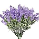XHXSTORE 4pcs Flores Artificiales de Lavanda Flocadas Planta Lavanda Artificial Exterior Resistente UV Ramo de Arbusto...