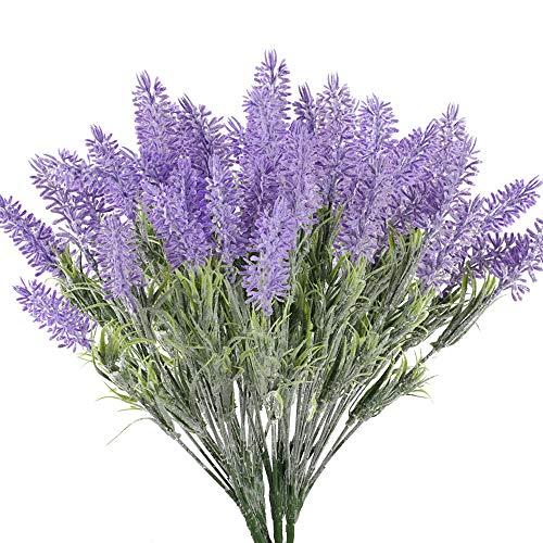 XHXSTORE 4 Pcs Künstliche Lavendel Blumen 7 Köpfe Kunstblumen Lavendel Kunstpflanzen Lila Unechte Pflanzen Plastikblumen für Frühling Innen Draußen Hochzeit Balkon Garten Vase Hause Dekoration