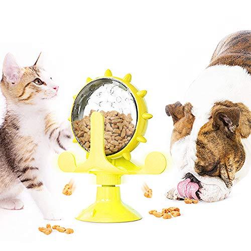 Aoliandatong Hunde Futter Spielzeug, Katzen Nahrungssuche Roulette Spielzeug Langsames Fressen Undichte Essen Spielzeug Windmühle Rollt Futter Spender für Hunde Katzen Intelligenz(Gelb)