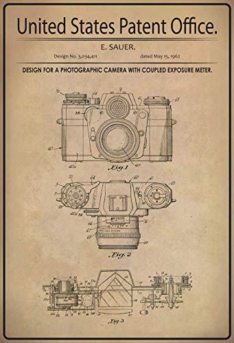 US United States Patent Office Photo Camera Foto Kamera Exposure Meter Belichtungsmesser 1962 Blechschild Metallschild Schild gewölbt Metal Tin Sign 20 x 30 cm