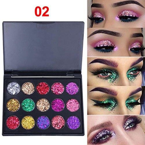 URSING 15 Farben Schimmer Glitter Lidschatten Pulver Palette Matte Lidschatten Kosmetik Make-Up Kosmetische Lidschatten Creme Augenschatten Makeup Eyeshadow Palette Schimmer Set (B)
