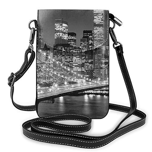 Bolso de cuero ligero para teléfono celular, New York Small Crossbody Bags Bolso de hombro cartera Pounch para mujer, color Negro, talla Talla única