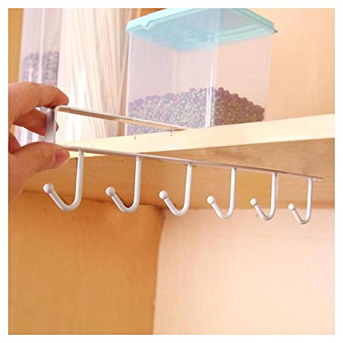 Rameng Porte-Tasses Insert Support Rack sous Etagère Egouttoir Verre Mug Accroché Porte-Serviettes pour Rangement Maison (Blanc)