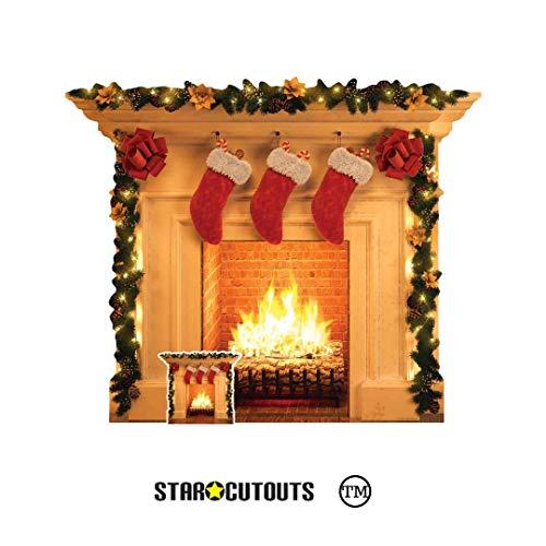 STAR CUTOUTS SC1458 Festlicher Kaminaufsteller aus Pappe, ideal als Weihnachtsdekoration für Schaufenster, Büropartys und Zuhause, Höhe 101 cm, Mehrfarbig