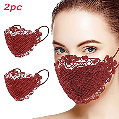 Lace Design Fabric Face Covering Adjustable Nos...