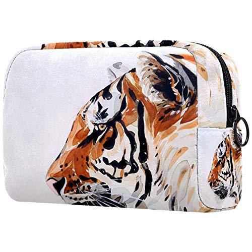 Bolsa de cosméticos para mujeres, tigre animal naturaleza pintura, bolsas de maquillaje accesorios organizador regalos