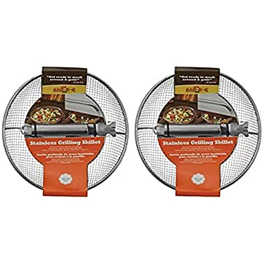 Mr. Bar-B-Q 06814X Stainless Steel Mesh Grilling Skillet (2 Pack)