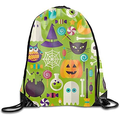 iuitt7rtree - Saco de gimnasia con cordón, diseño de Halloween y día festivo, bolsa de deporte promocional, bolsa ajustable para gimnasio, atletismo y carrera 2880