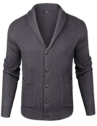 iClosam Vest-sweater met V-hals voor Heren Wollen Gilet voor Heren met Klassieke Knoopsluiting