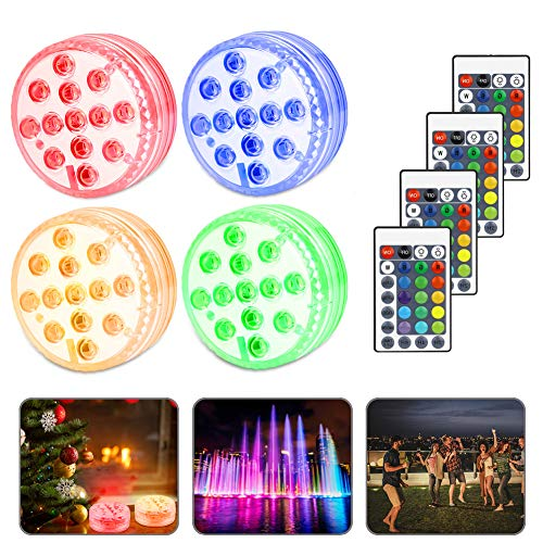 Etmury Unterwasser Licht, Aquarium Led Beleuchtung, Neues Design 13 LED Farbwechsel IP68 Wasserdichtes Licht für Schwimmbad/Badezimmer/Brunnen/Aquarium/Vase Base, Weihnachten - 4 Stück