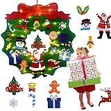 Wuudi Corona de Navidad de fieltro, juego de 22 piezas, adornos para corona de Navidad infantil, decoración de pared