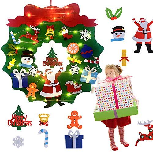 Wuudi DIY - Set di 22 ghirlande di Natale in feltro per bambini, fai da te, decorazione da parete