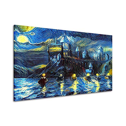 RINWUNS Wall Art Starry Night Poster Castle Night Boats Canvas Print Wall Painting Van Gogh Abstract Giclee Modern No Frame Home Decor for Living Room Bedroom-12x18inch(Only Canvas)